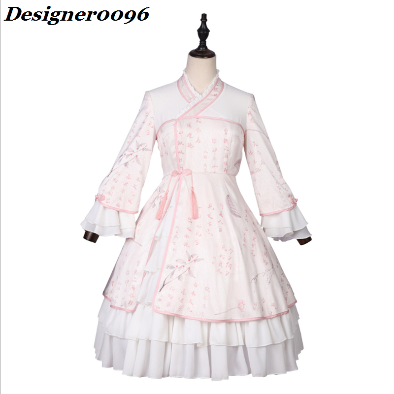 Lolita Dress Original Chinese Style Lolita Skirt 3D Digital Print Women 39 s Clothes Japanese Kimono Vintage Elemental Dress Adult in Lolita Dresses from Novelty amp Special Use