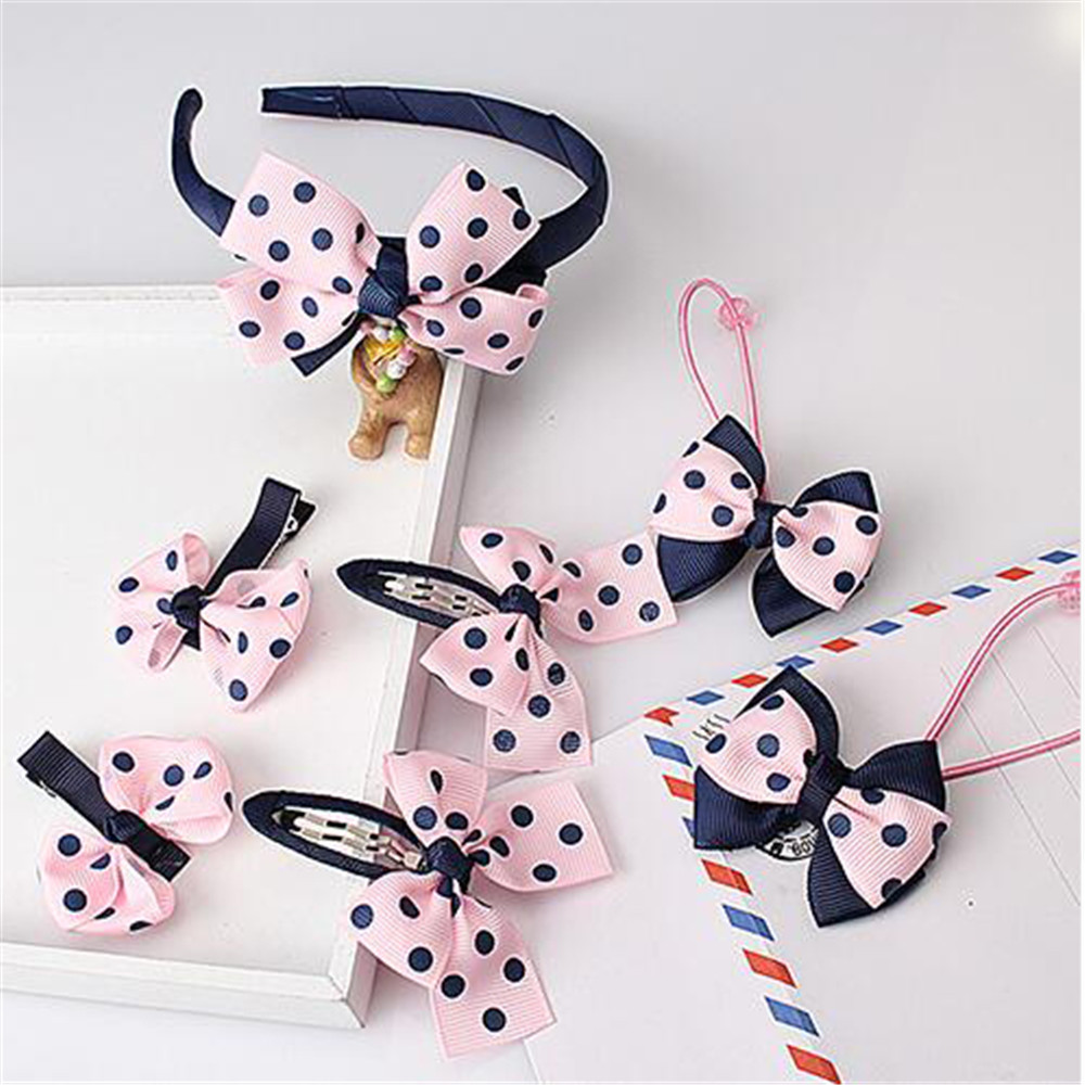 Fashion 1set=7pcs Children Accessories Hairband Hairpins Gum For Hair Baby Girls Lovely Bow Headwear Hair Clip Headband