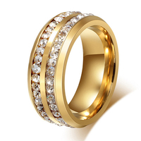 2015 8mm Luxury Vintage18k Gold Plated Cz Diamond Infinity Wedding Bands Engagement Rings Sets For