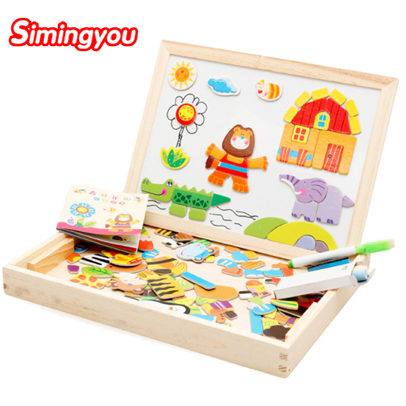 Simingyou Wooden Puzzles For Children Forest Park Multifunctional Magnetic Kids Puzzle Drawing Board Educational Toys WDX41 47pcs per set classic iq metal wire puzzle mind educational ring puzzles game for adults children