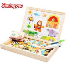 Simingyou деревянные пазлы для детей лесной парк Многофункциональный магнитный Дети головоломка доска для рисования развивающие игрушки WDX41