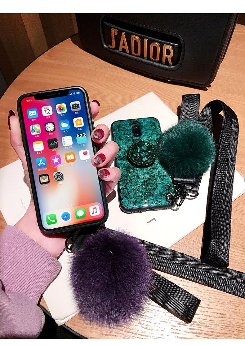 HTB1ByDtaa67gK0jSZFHq6y9jVXah For Xiaomi Mi 9T 9 CC9 CC9E A3 8 Lite 6X A2 5X A1 Note 10 3 Redmi K20 Pro Mix 2 Max 3 Case Cover Glitter Plush Ball Hand Strap