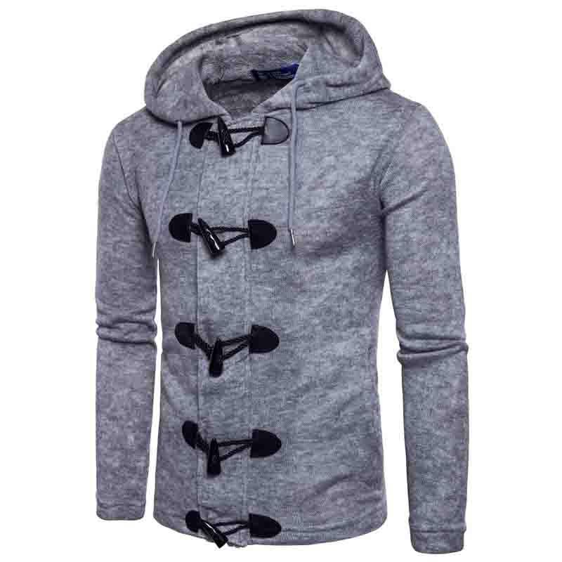HOT 2020 autumn winter Men's horn with thicken big button cardigan mens long sleeve knit hooded fleece cardigan coat - 6