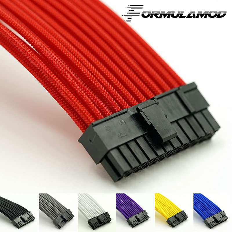 FormulaMod Fm-ATX24P-A, ATX 24Pin Motherboard Power Extension Cables, 18AWG 24Pin Multicolor Matching Extension Cables
