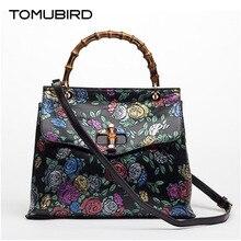 TOMUBIRD superior cowhide leather Designer Inspired Embossed Flower Ladies Handmade Leather Tote Satchel Handbags