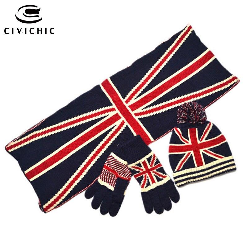 CIVICHIC Fashion Parent Child UK Flag Knit Scarf Hat Glove 3 Piece Winter Warm Pompon Beanies Fleece Adult Children Warmer SH133