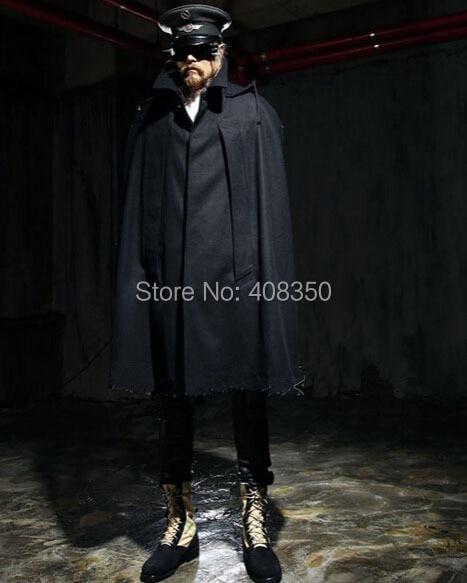 7a4f2f92fe ... Men s Top Fashion Black Long Hooded Cloak Coat Stylish Gothic Trench  Overcoat Hot-selling Winter ...