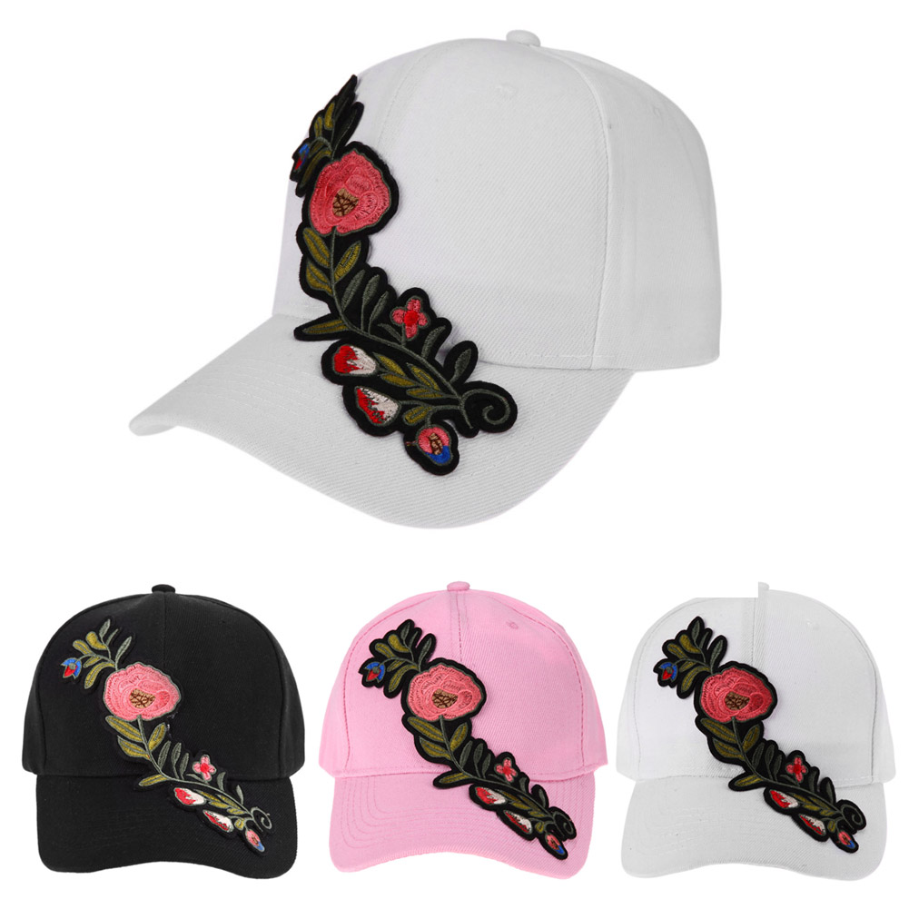 2018 Casual Baseball Cap Flower Embroidery Hat Cap Pink Black White Snapback Hats Women Men Groupbuying Price