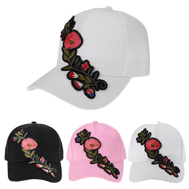 2018 gorra de béisbol ocasional flor bordado casquillo del sombrero ...