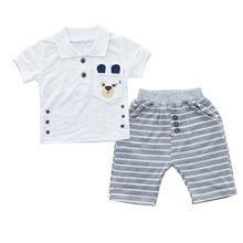 Newborn Baby Summer Clothes Short Sleeve T-shirt+Striped Pants 2pcs Boy Set 0-3T Age Cotton Infant Clothing Casual Outfit