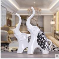 Beautiful pair of modern ceramic animal elephant crafts, home office living room decorations, birthday wedding gifts