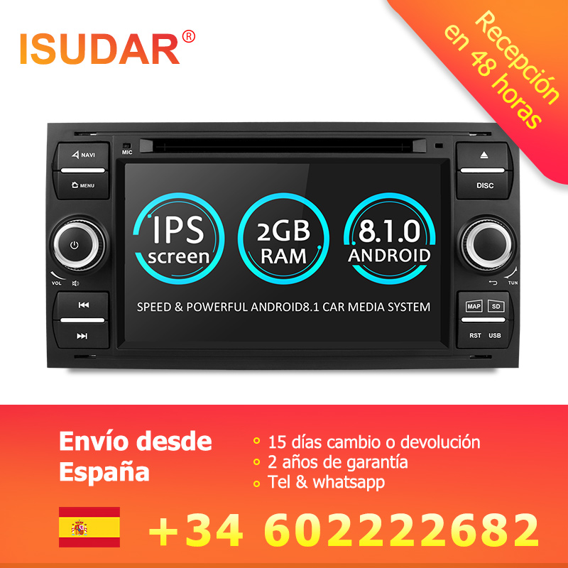 Isudar Voiture Lecteur Multimédia Android 8.1 GPS Autoradio 2 Din 7 pouce Pour Ford/Mondeo/Focus/Transit /C-MAX/S-MAX/Fiesta 2 gb RAM DVD