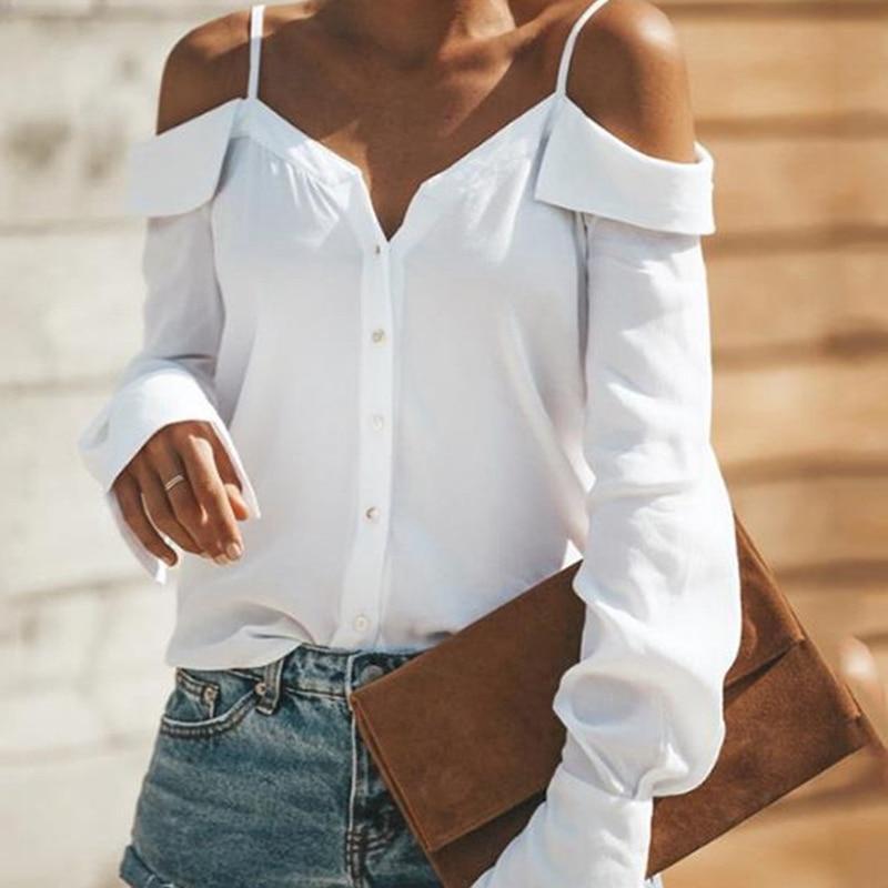 JOYINPARTY Open Shoulder V-Neck Sexy Women Blouse Shirt Off Shoulder Lantern Sleeve Tops Casual Streetwear Button White Shirts