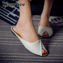 Fashion Brand 2018 Fashion Leather Flat Slides Woman Shoes Square Heels Point Toe Lady Slippers Loafers Mules Casual HS056