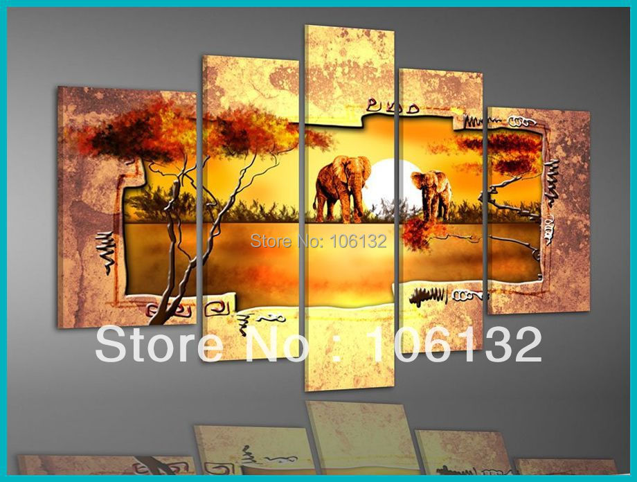 framed 5 panel large gold canvas art african sunset landscape painting elephant wall decoration picture a0393 - Cheap Canvas Wall Art