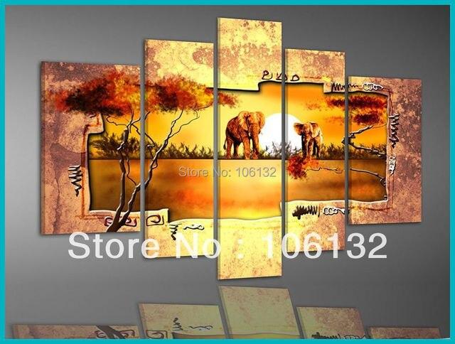 Framed 5 Panel Large Gold Canvas Art African Sunset Landscape ...