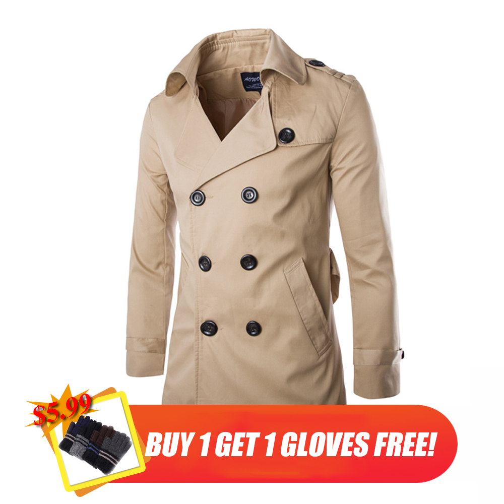 Mens Long Trench Coat Top Quality British Slim Double Breasted Europe Trench Coats Jacket Male Winter Windproof Coat