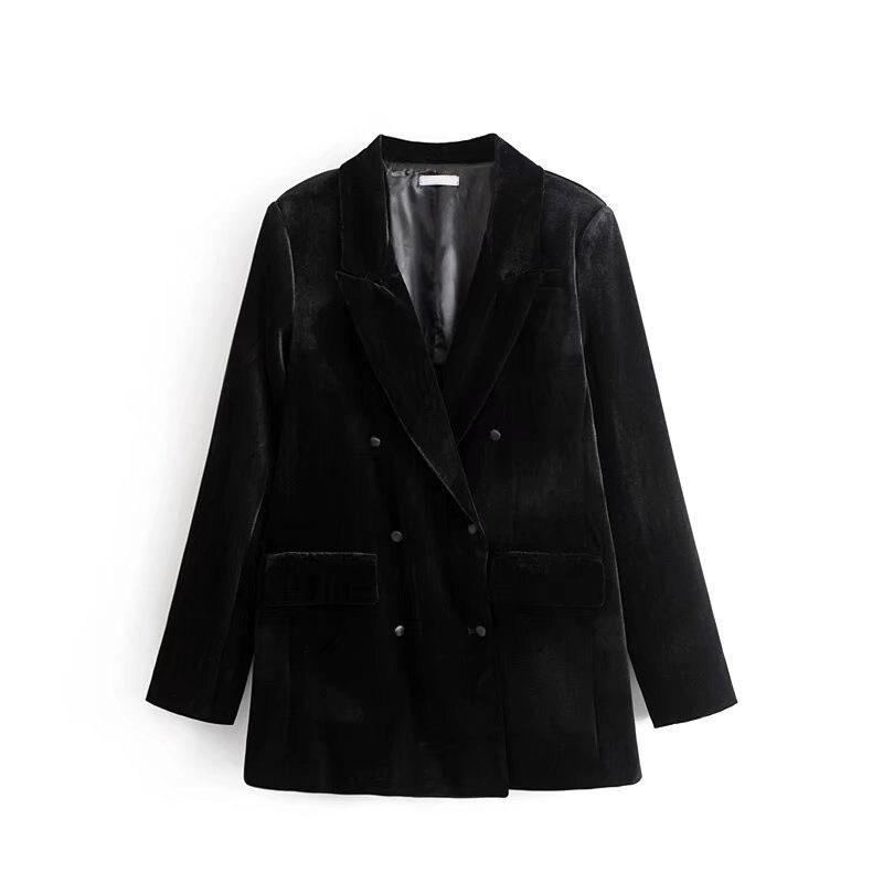 Europe Style Black Velvet Blazer Women 2018 Spring Fashion Double Breasted Slim Ladies blazers Office Velvet Coat jacket
