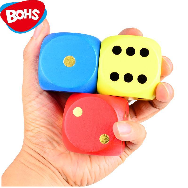 BOHS Big 7 Colours Wooden Dice Family Board Desktop Casino Gamble Game Toy 1pc ,5cm/1.94 inch