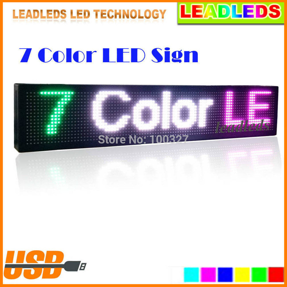 30 X6 Inches Full Color RGB Programmable Scrolling Message LED Display Sign Board Support For Multi-language Display
