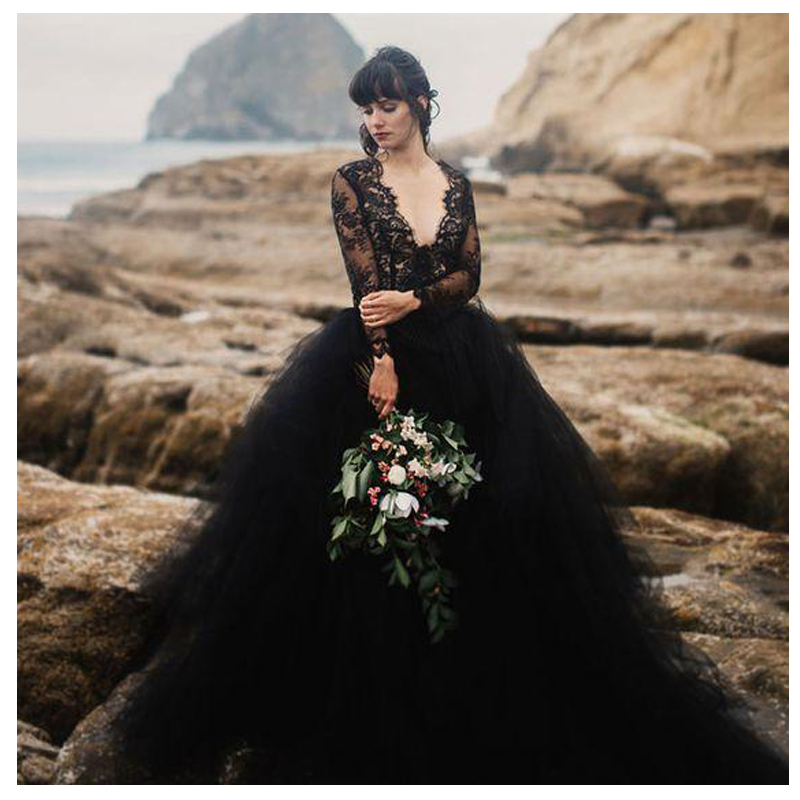 SoDigne 2018 Black Wedding Dresses Top Lace Chiffon vestido de noiva bride dress New Arrival Zip