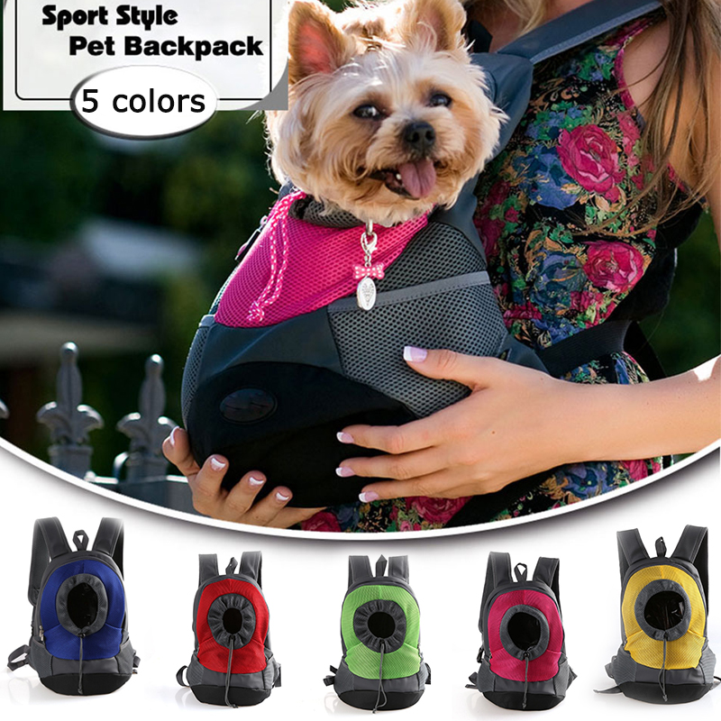 Portable Outdoor Pet Carrier Backpack Bag Breathable Travel Bag Dog Front Bag Mesh Backpack Head Out Double Shoulder