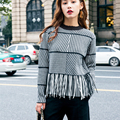 [XITAO] 2016 autumn and winter new tide Korean tassel Round collar sweater casual female short plaid knitting pullover BF002