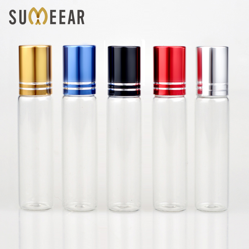 Wholesale 10ml Essential Oil Bottle Glass Roll on Perfume Bottle For Essential Oils Empty Cosmetic Case With Steel Beads Rollor