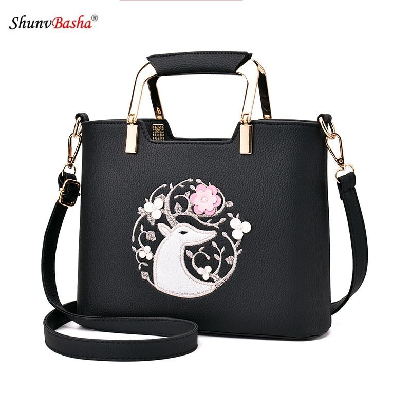 Ladies handbag 2017 Europe and American new Women pu leather embroidery handbag burst fashion female Messenger