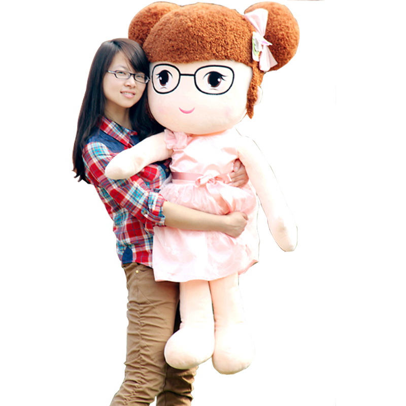 Fancytrader Cute Princess Girls Plush Doll Wearing Dress Stuffed Soft Girls Toys for Baby 47inch 120cm Nice Gifts fancytrader real pictures 39 100cm giant stuffed cute soft plush monkey nice baby gift free shipping ft50572
