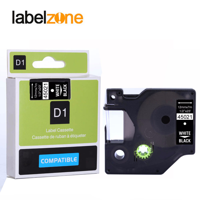 3PK Replace Dymo D1 Label Tape 45021 White on Black LabelManager 160 210D 12mm