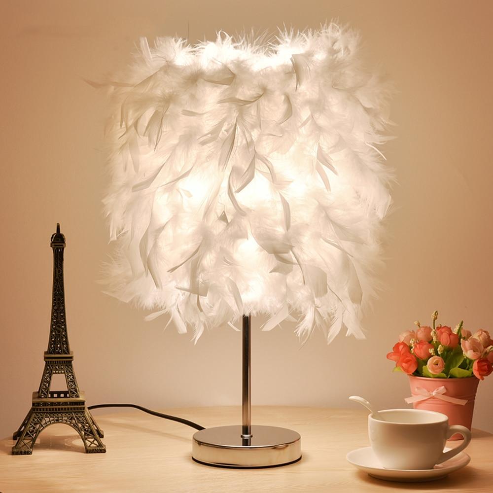 Lampe De Bureau en métal Led Romantique Plume Lecture Lit Lumière 110-220 v Rose Mini Tactile Commutateur De Chevet Lampe Luminarias E27