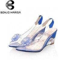 BONJOMARISA Große Größe 34-43 Fabrik-preis Rom stilvolle hochwertige mode keilabsatz sandalen kleid freizeitschuhe sandalen XB140