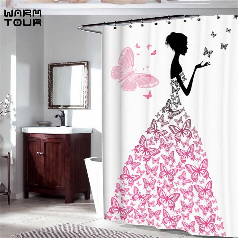 Pink Butterfly Girl With Floral Dress Flower Fairy Angel Wings Shower  Curtain Black White Feminine Dreamy