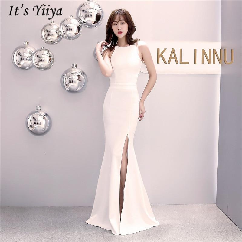 It's Yiiya Mermaid evening dress zipper back sleeveless long party Gowns Sexy O-neck trumpet Royal Blue formal Prom dresses C080