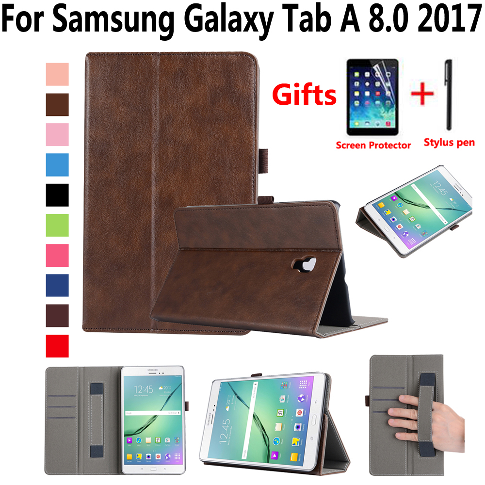 Hand Hold Premium Leather Case for Samsung Galaxy Tab A 8.0 2017 T380 T385 SM-T385 Cover Funda Tablet Smart Stand Durable Shell