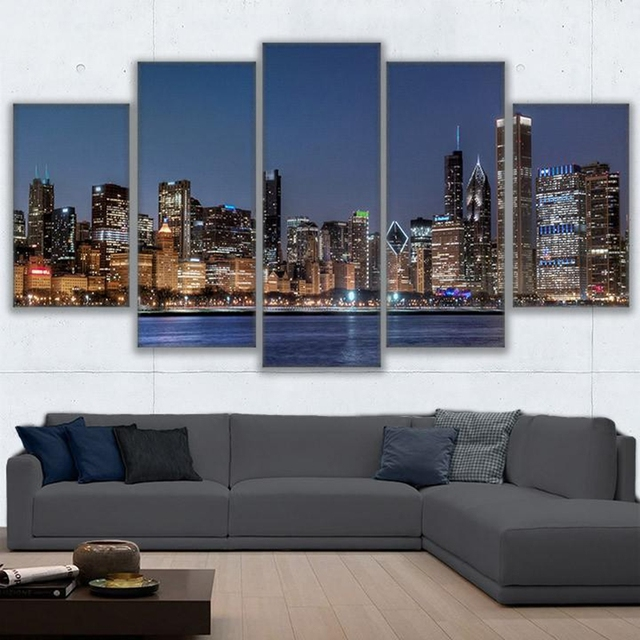 HD Prints 5 Pieces Canvas Wall Art Pictures Living Room Decor Chicago River Cityscape Paintings Framework City Nightscape Poster