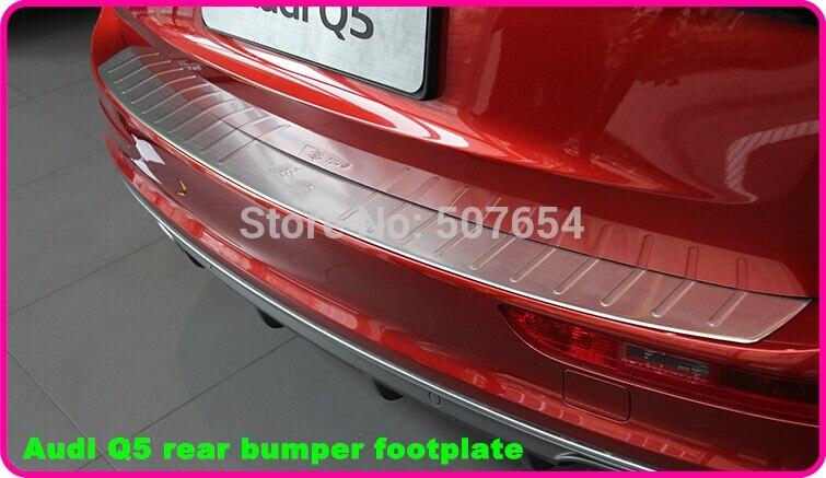 Étoiles supérieur en acier inoxydable de voiture arrière tronc décoration plaque, plaque de protection, protection pédale autocollant avec logo pour Audi Q5 2009 2015 dans Chrome Styling de Automobiles et Motos