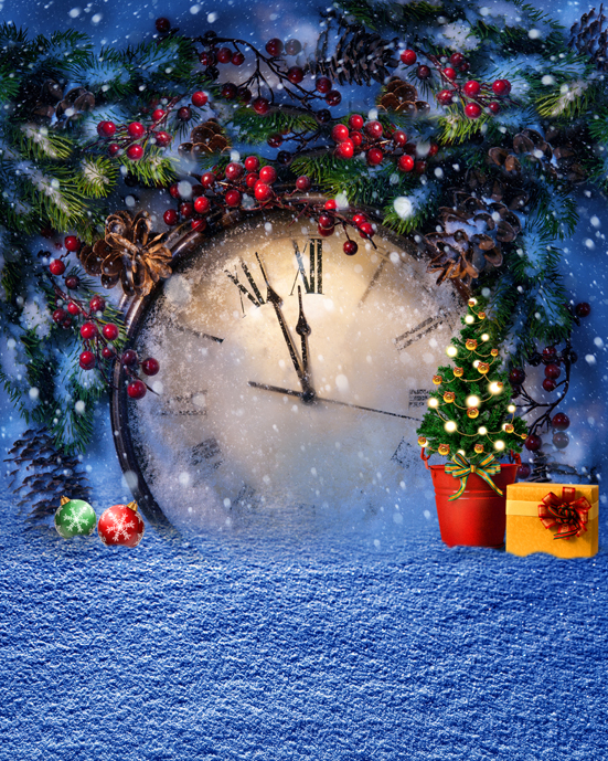 5x7ft Christmas Tree Silver Snow Flakes Vintage Clock Photo Studio Props Christmas Backgrounds Vinyl Backdrops for Photography
