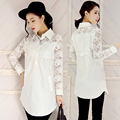 Spring High Quality Lace Blouse Women Brand Casual Tops Ladies Turn-down Collar Plus Size 5XL White Shirt Female Blusa Feminina