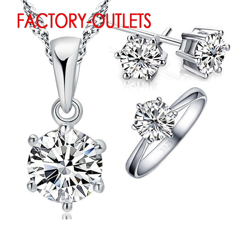 Necklaces-Rings Bridal-Jewelry-Set 925-Sterling-Silver Crystal Engagement Anniversary