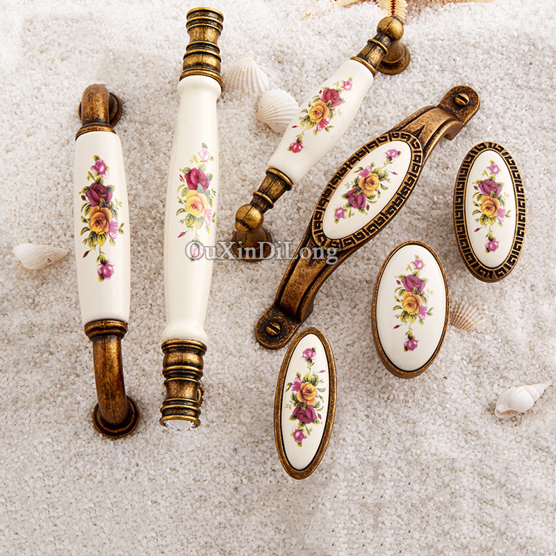 Retro 10PCS European Antique Kitchen Door Furniture Handles Ceramic Printing Cupboard Drawer Wardrobe Cabinet Pull Handles&Knobs hot 10pcs furniture handles european antique zinc alloy drawer cupboard kitchen cabinet door handles