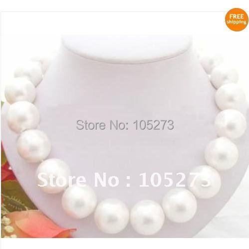 Stunning! Huge 18inchs AA 18MM White South Sea Shell Pearl Necklace fashion jewelry womans neklace Free shipping FN32