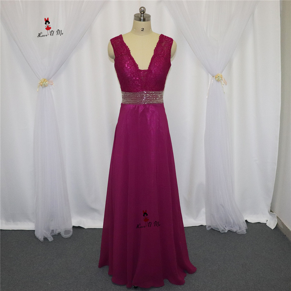 Abendkleider Purple Long Formal Evening Gowns Lace Beads V Neck Tank Chiffon Special Occasion Prom Gowns Vestido De Noche 2017 Bracing Up The Whole System And Strengthening It