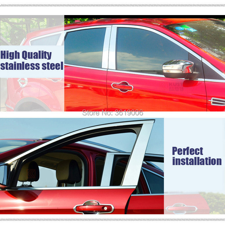 TOMMIA Full Window Middle Pillar Molding Sill Trim Chromium Styling Strips Stainless Steel For kia kx3