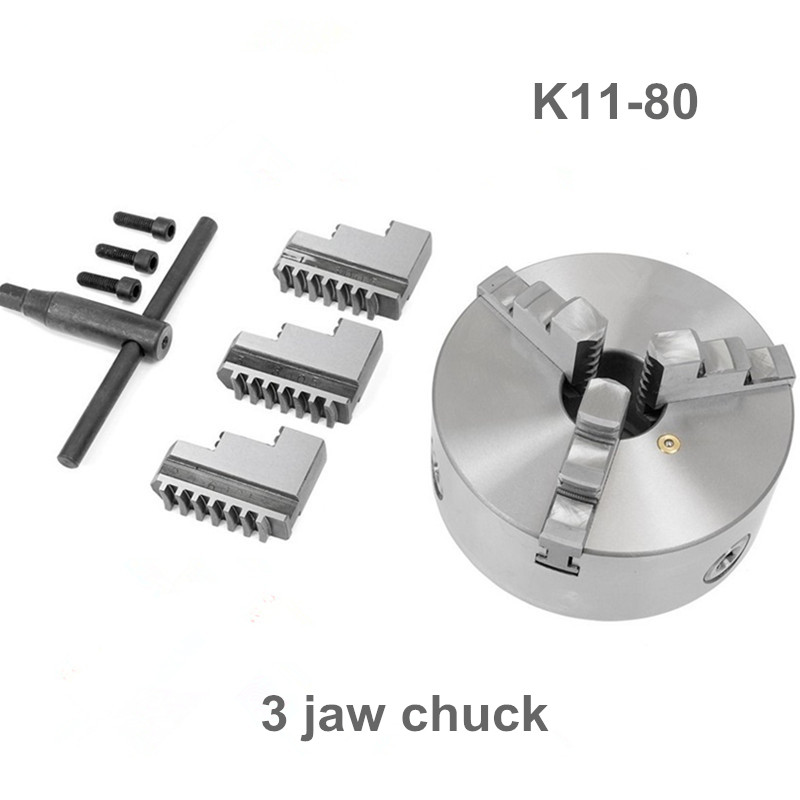 4800rpm 3inch 3 Jaw 80mm Lathe Chuck Self-Centering K11-80 with Wrench and Screws Hardened Steel for Drilling Milling Machine цена