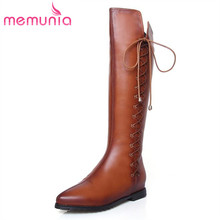 MEMUNIA high quality PU side zippper restoring women's knee high boots novelty soft leather lace up knot winter boots