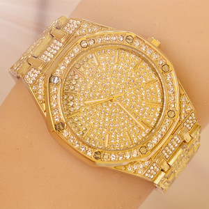 Image 3 - 2019 relógio masculino feminino pulseira de cristal ouro/prata chapeado grande dial senhores senhoras brilhando vestido quartzo relógio de pulso horas