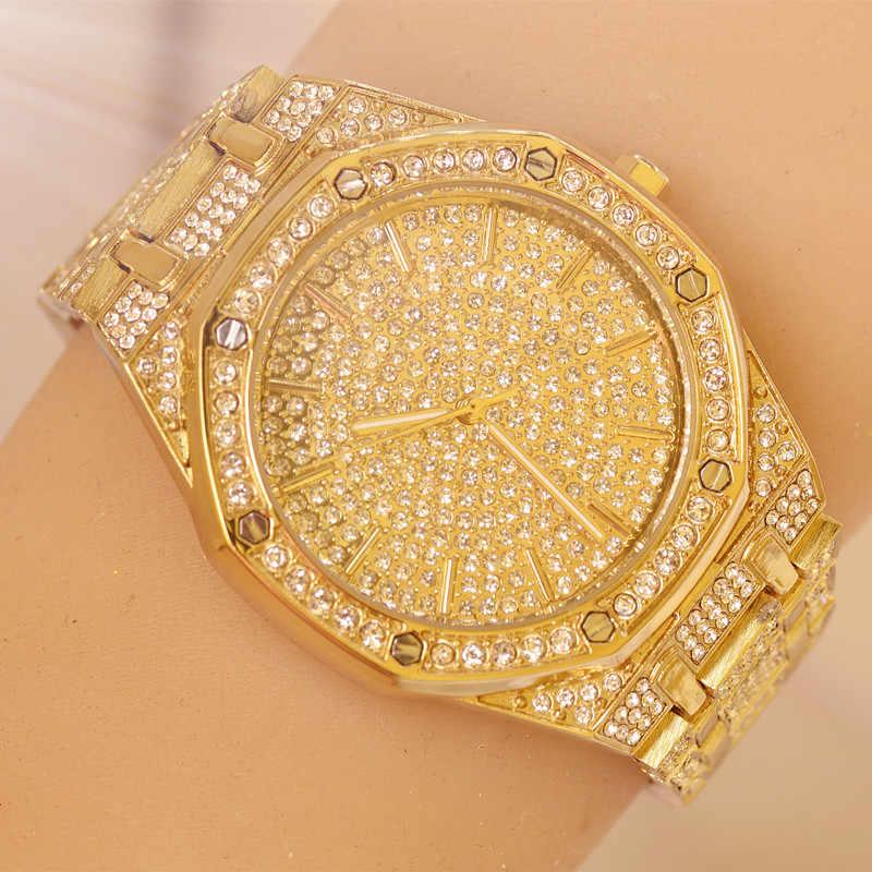 2019 reloj pulsera de cristal para hombres y mujeres esfera dorada/Chapado en plata grande reloj de pulsera de cuarzo para damas y caballeros