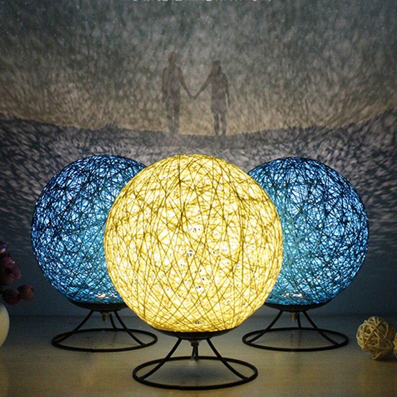 Hemp Rattan Ball led Table Lamp Bedroom Bedside Desk Lamp Dream Night Light Retro Restaurant Personalized Desk Light Design lamp north european style retro minimalist modern industrial wood desk lamp bedroom study desk lamp bedside lamp